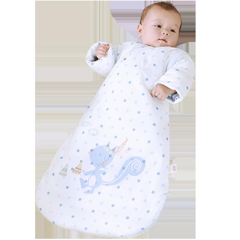 雅婴宝婴儿睡袋秋冬厚款新生儿四季通用款纯棉宝宝防踢被冬季加厚