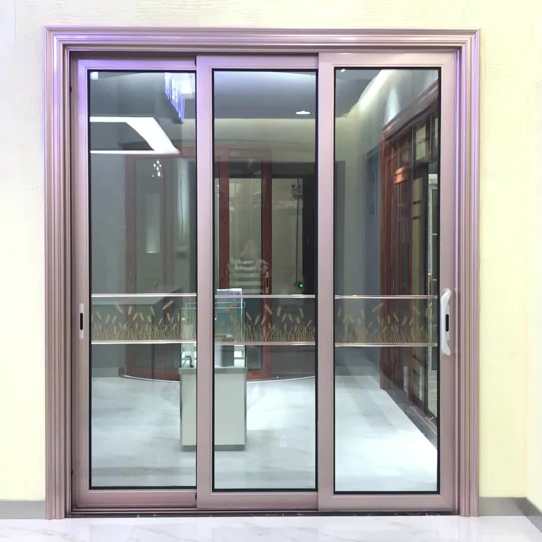 Aluminum Standard Size 3 Panel Sliding Glass Door Curved Glass
