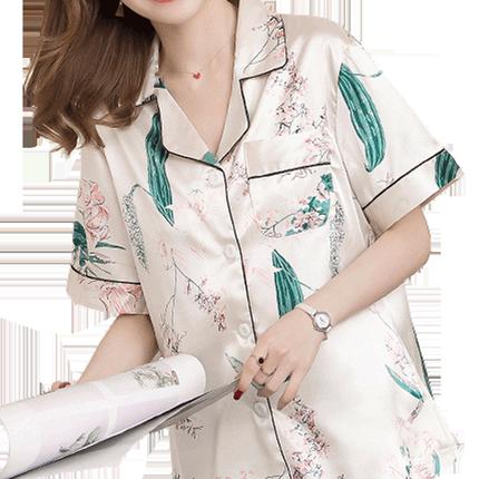 夏季冰丝性感短袖长裤韩版开衫睡衣