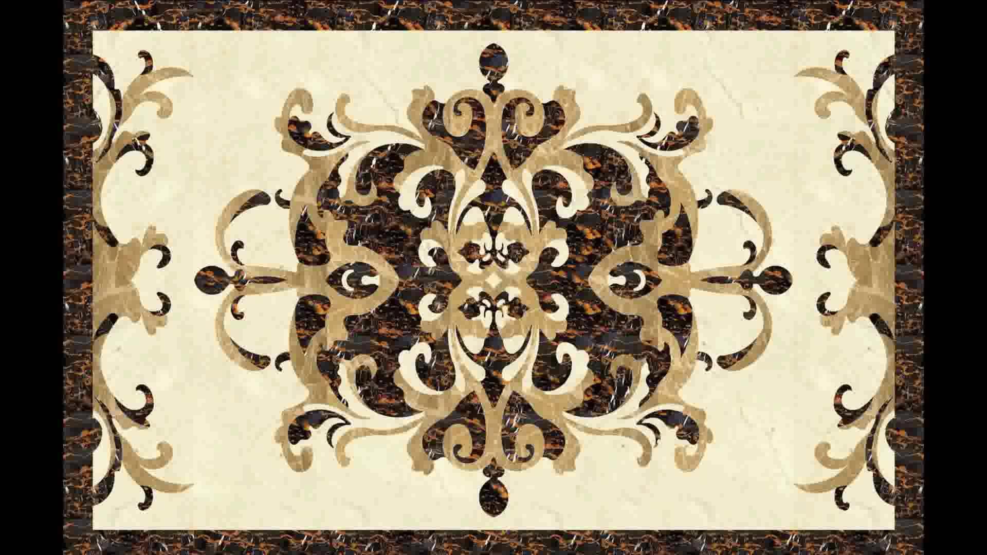 Polishing marble inlay waterjet medallion floor tile