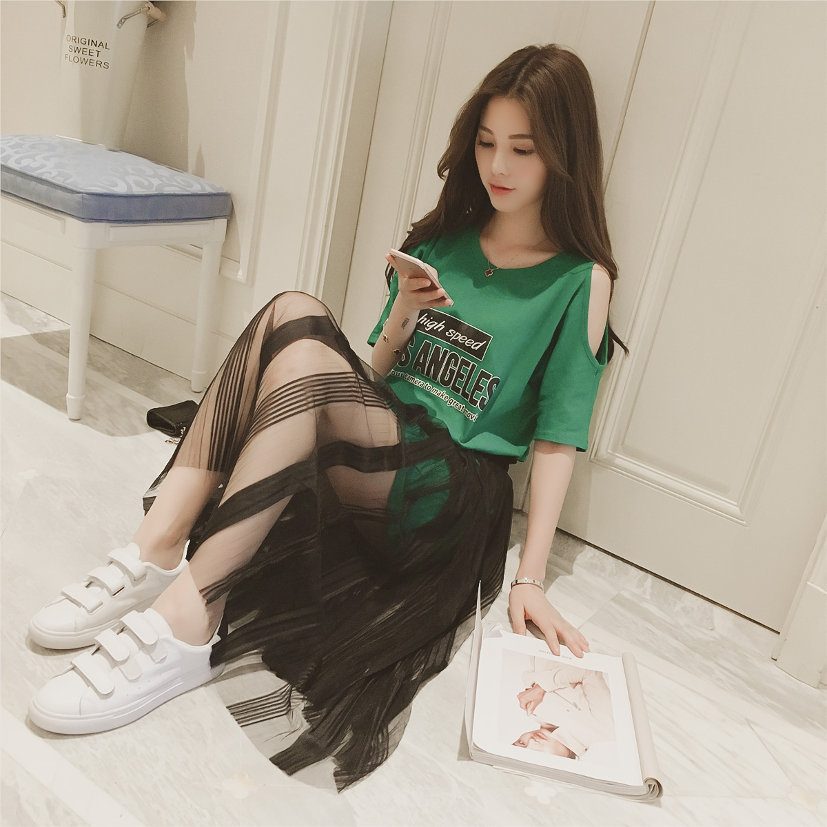High Waist Half Skirt Fishtail Skirt Two-piece Set Blouses & Shirts Hand Nail Drill Lotus Leaf Edge Tassel Shirt
