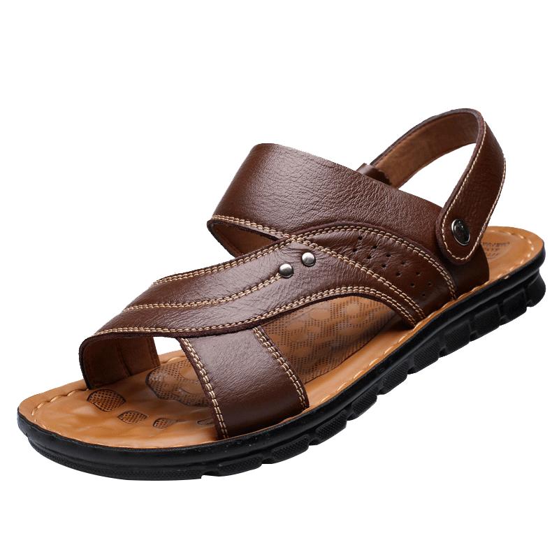 拖鞋男夏季2019新款沙滩鞋防滑中老年两用软底大码休闲真皮男凉鞋