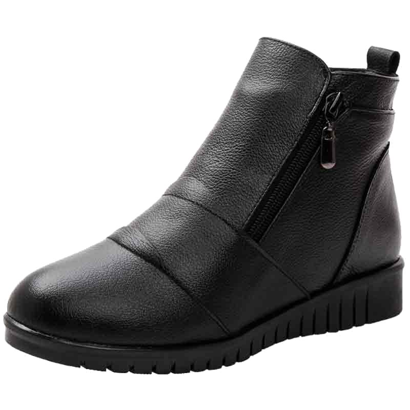 妈妈鞋女冬季加绒真皮短靴平底中老年棉鞋中年女鞋老人软底皮靴子