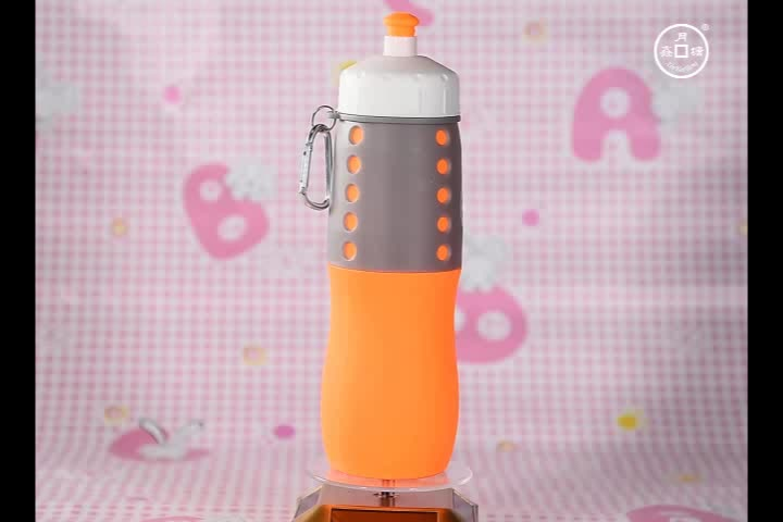 650ML Silicone Drinking Bottle Foldable Water Drink Sport Running Bottle for Company Promo