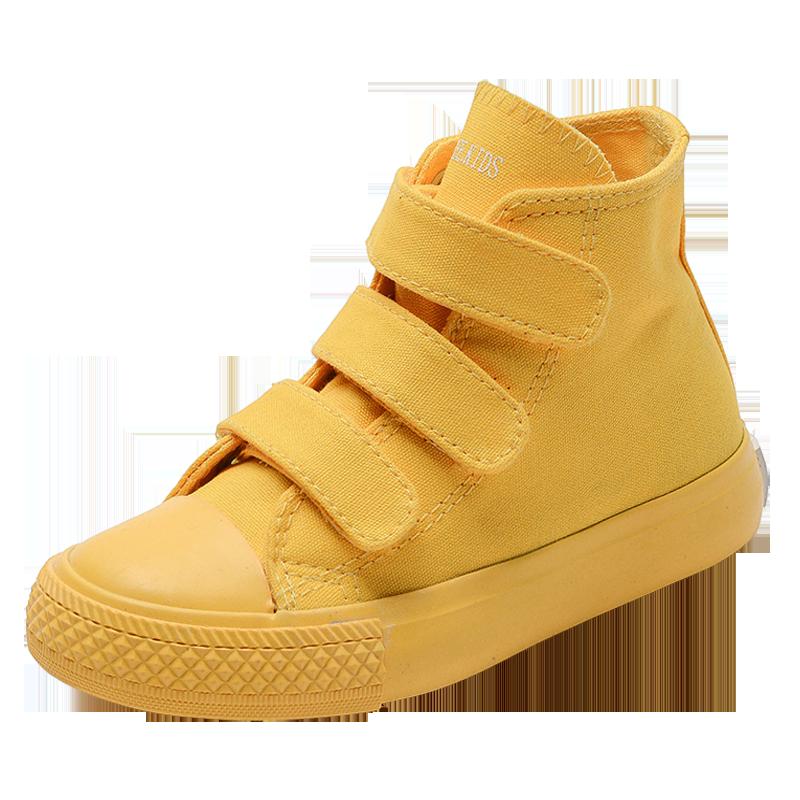 儿童帆布鞋高帮板鞋男童女童鞋子布鞋糖果色宝宝幼儿园小白鞋白色