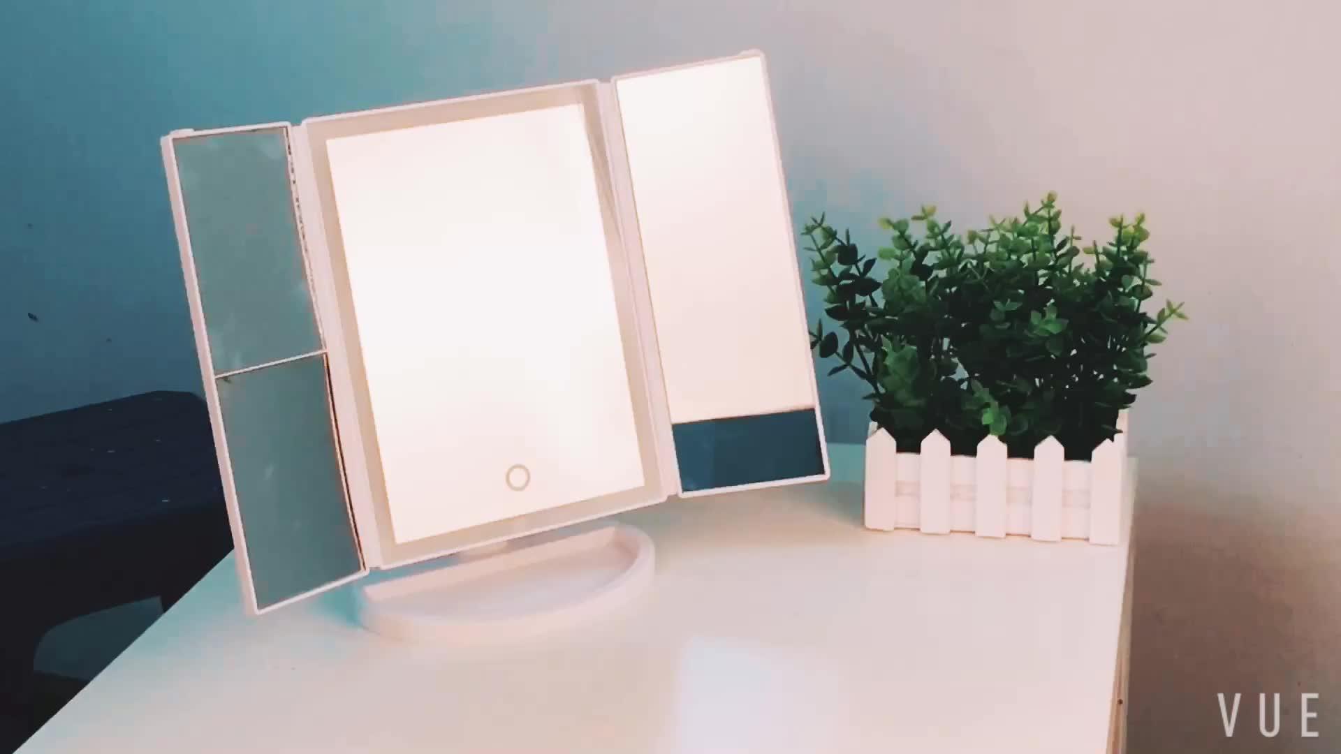 中国工場無料サンプルバニティつ折り倍率led化粧鏡付きライト