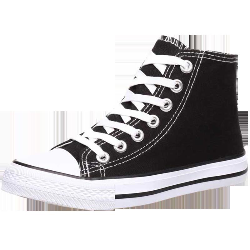 黑色新款高帮帆布女鞋2019休闲学生百搭韩版布鞋夏季潮鞋小白板鞋
