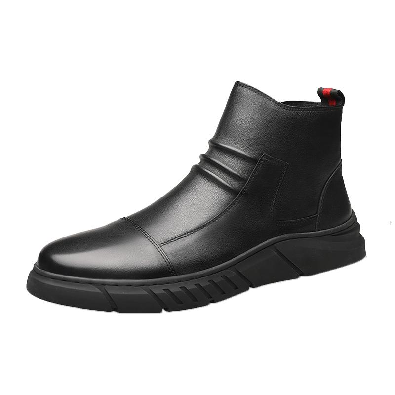 Romon/罗蒙2019冬季新款男士皮鞋黑色棉鞋高帮加绒靴子英伦马丁靴