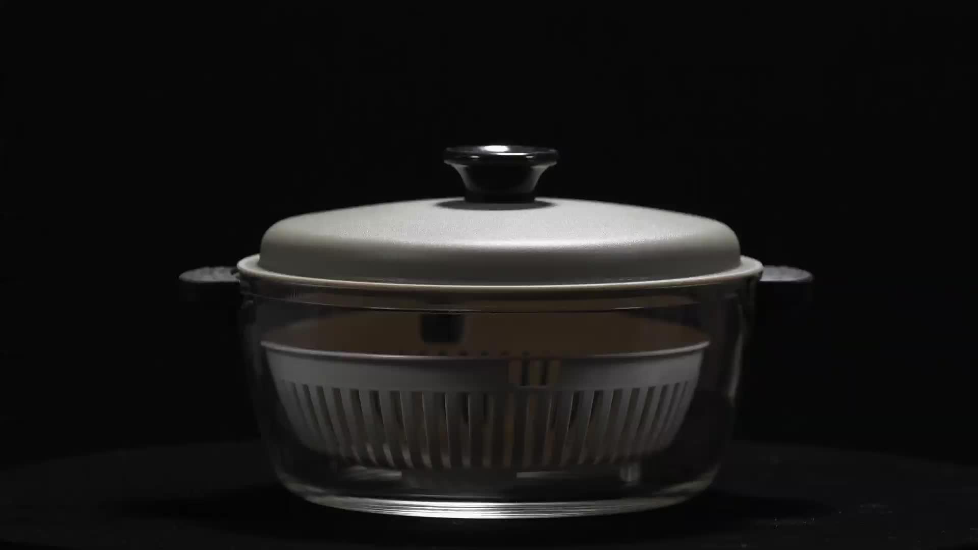 IKOO 유리 전자 레인지 사용 높은 붕규산 유리 스팀 냄비 PP 뚜껑과 기선