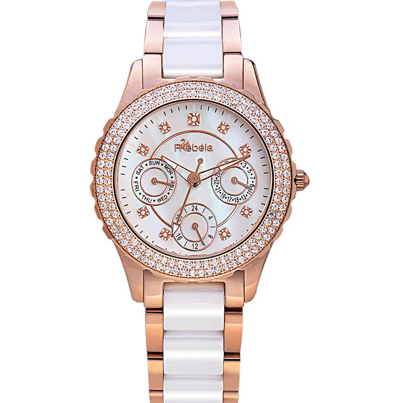 瑞贝拉正品魅惑系列满天星9钻时尚陶瓷表带防水女士手表时装表