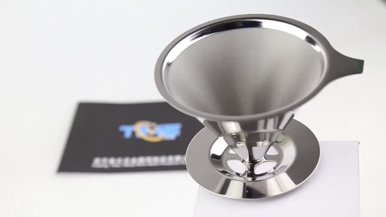 reusable custom logo pour over V60 stainless steel coffee filter for make coffee or tea