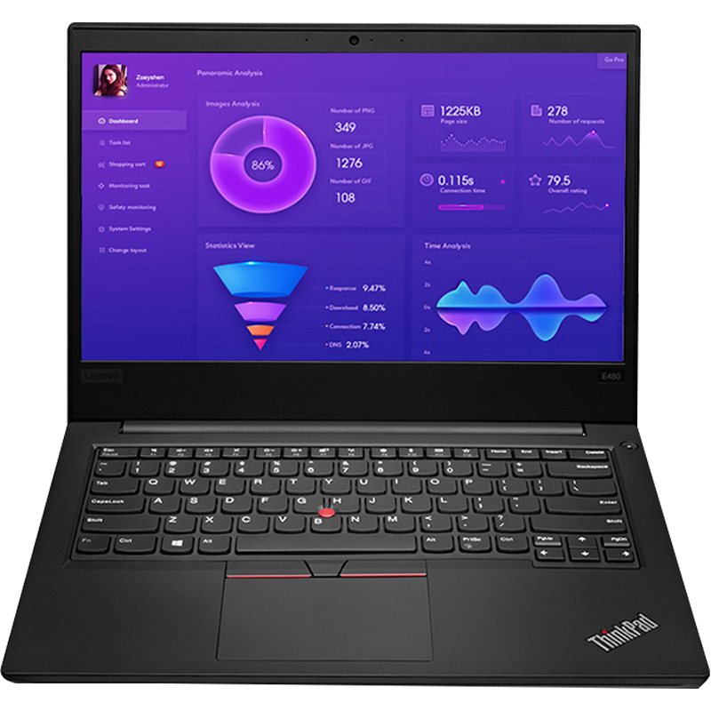 ThinkPad笔记本 联想 E480 3RCD 14英寸窄边框轻薄笔记本电脑 商务办公手提电脑 八代四核i5 新品