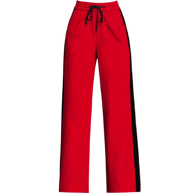 2020春季新款运动长裤侧织带阔腿裤
