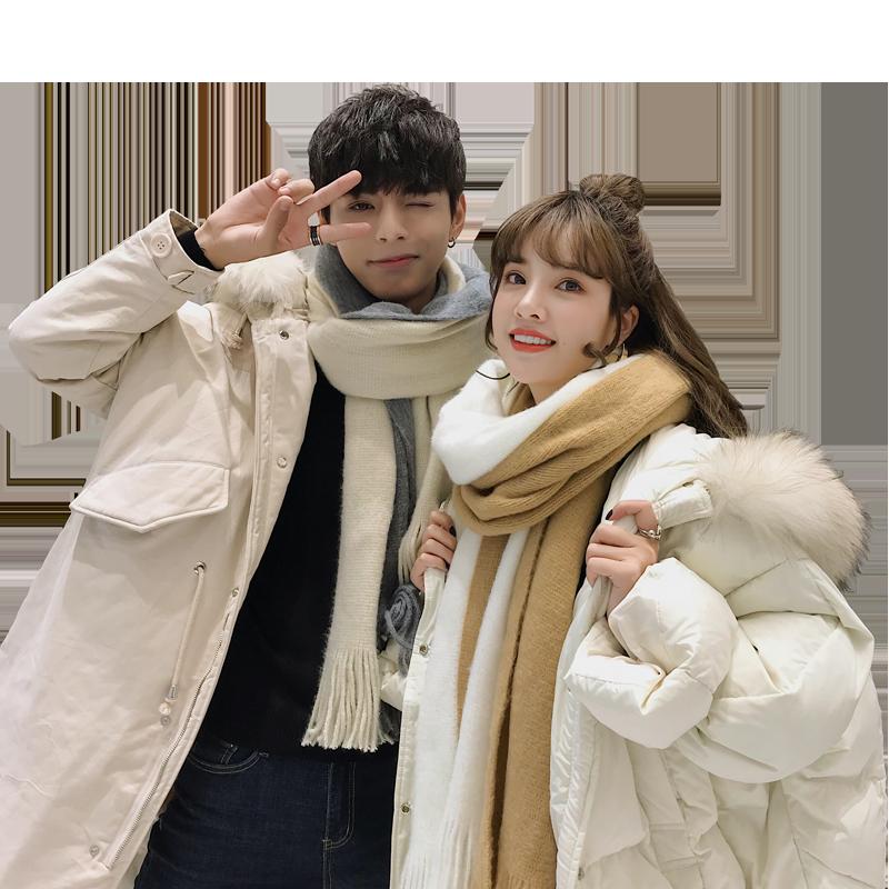冬季新款情侣围巾男女学生一对恋人韩版百搭简约毛线针织圣诞围脖