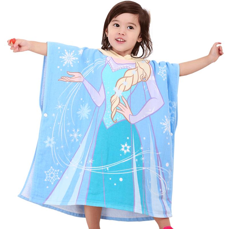 迪士尼儿童连帽纯棉纱布可穿斗篷浴巾宝宝沙滩巾带帽吸水洗澡浴袍