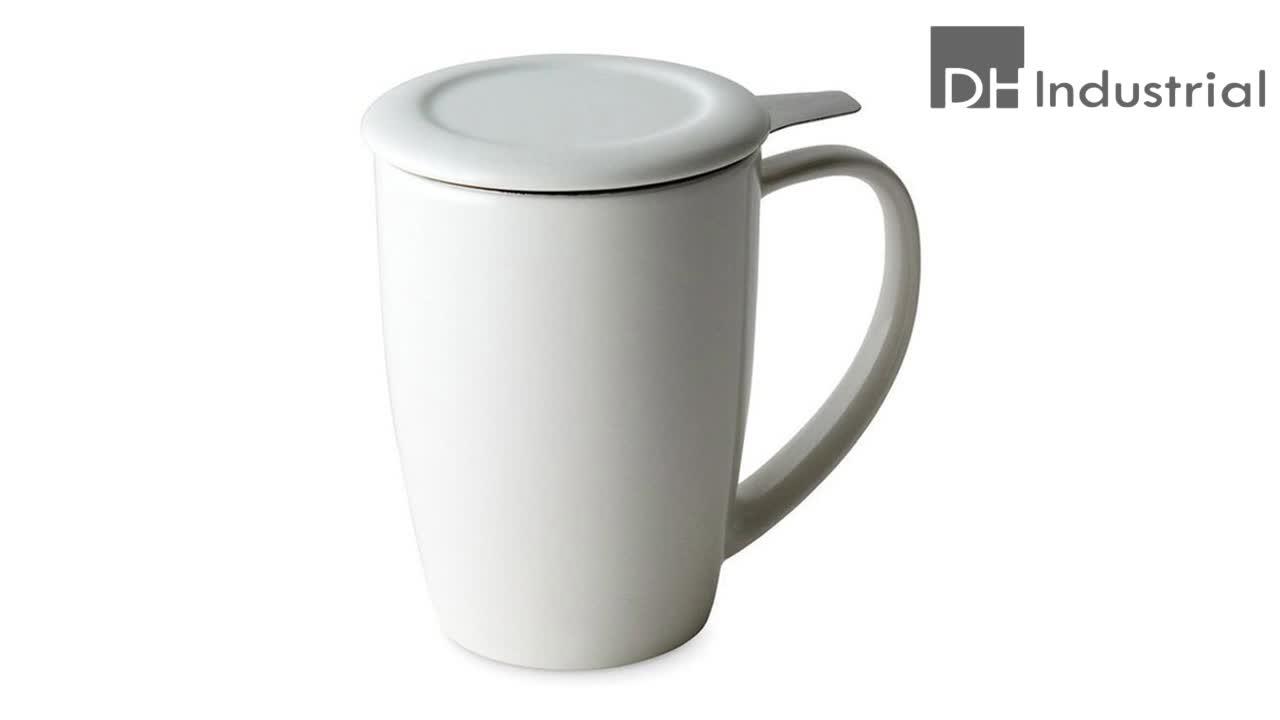 เต็มสีเคลือบแก้วที่มีตัวกรองและครอบคลุมสำหรับชาสแตนเลสinfuserเซรามิกแก้วที่มีฝาปิด
