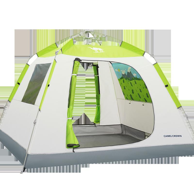 骆驼户外四方阁帐篷全自动速开双人家庭野营加厚帐蓬野外露营装备