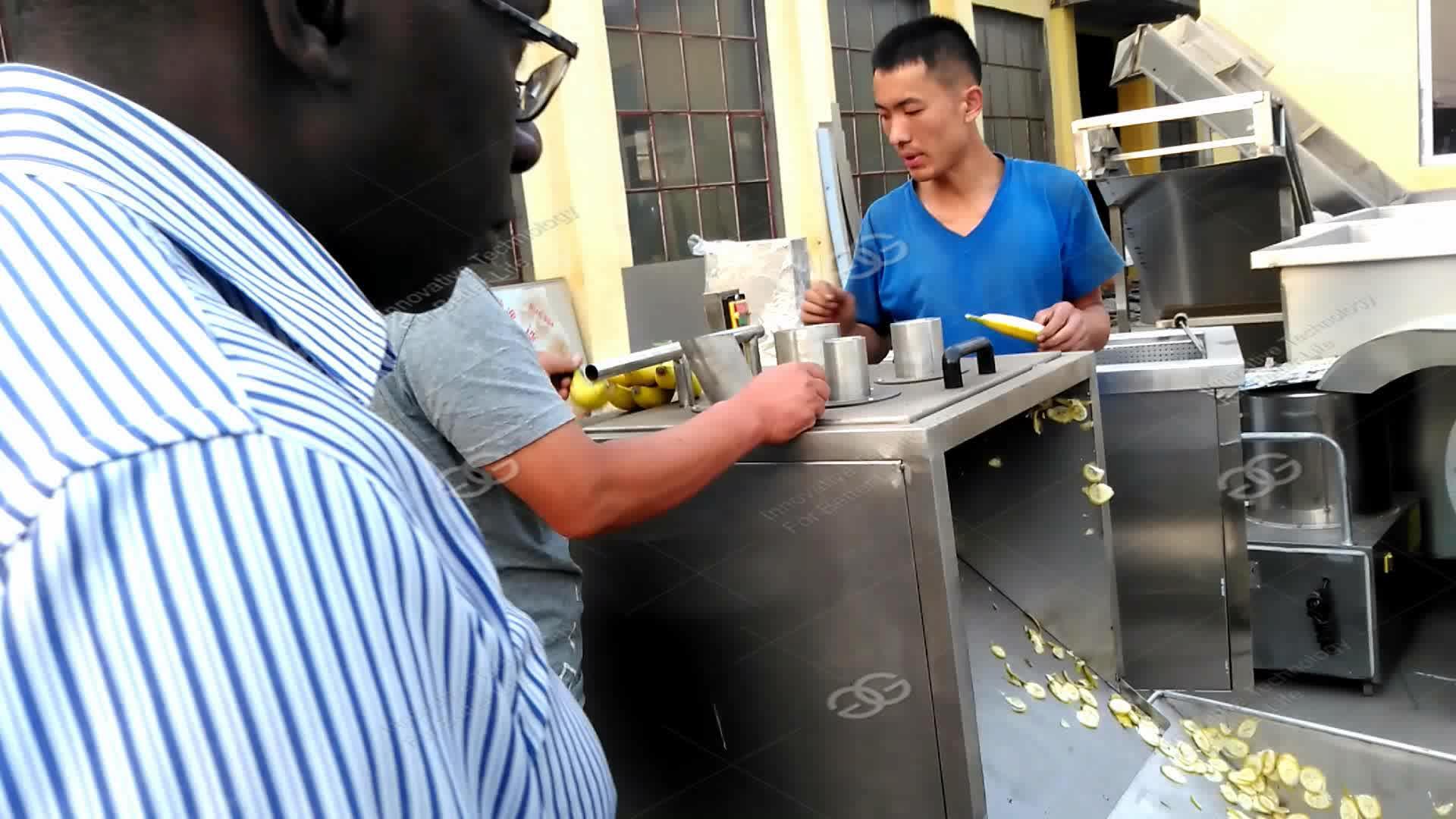 Ligne De Production professionnelle De Coupe Friture Plantain Puces Faisant Philippin Chips de Banane Machine