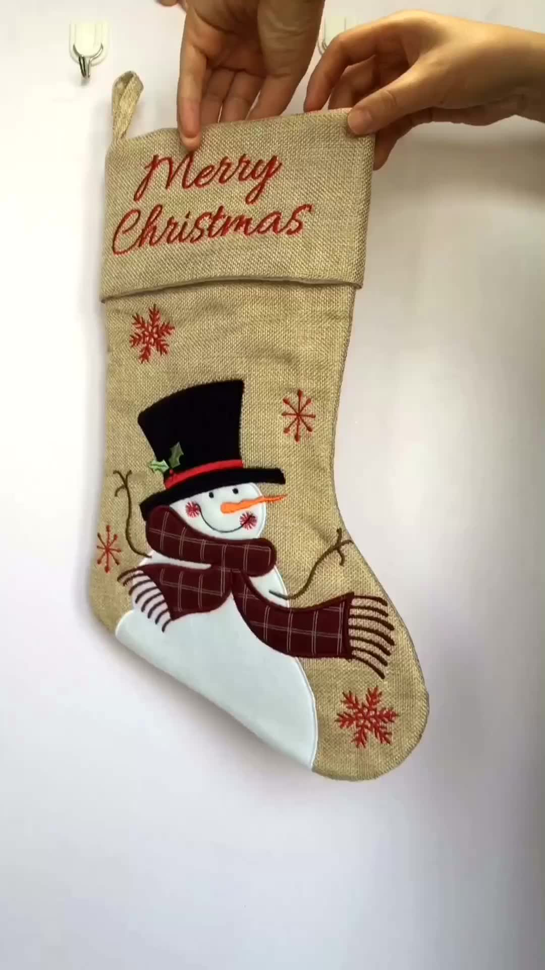 polyester country christmas stockings with santa snowman pattern - Country Christmas Stockings