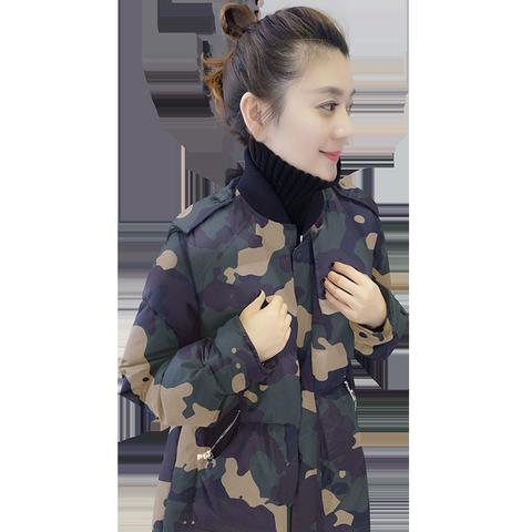 欧洲站冬装女2019新款欧货休闲宽松迷彩中长款保暖加厚羽绒服外套