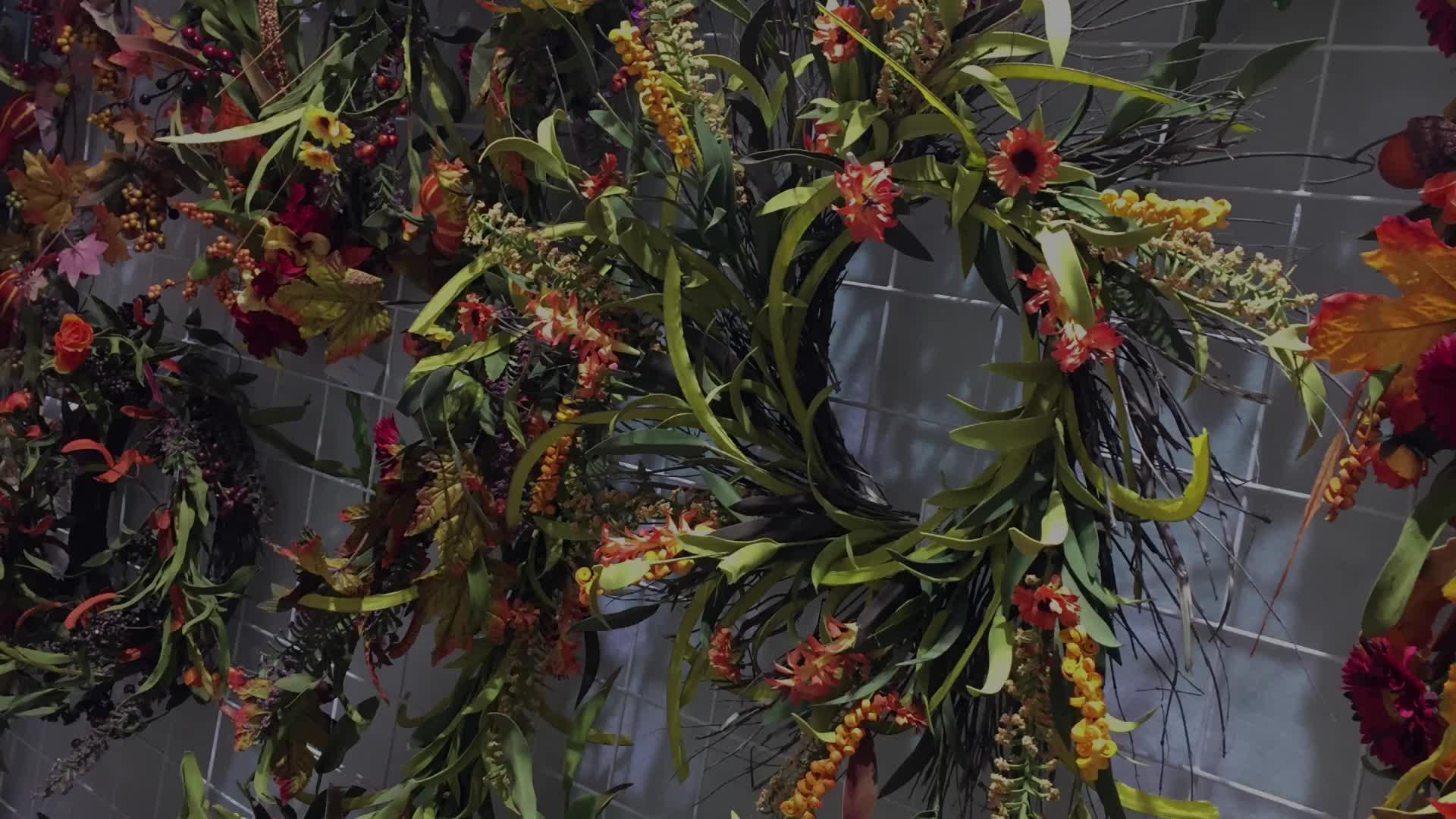 """Groene Eucalyptus Bladeren Kunstbloem Krans Met Parel 14"""""""