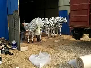 New Product Design Antique Fiberglass Life Size Cartoon Zebra Sculpture For Christmas Home & Garden Decor