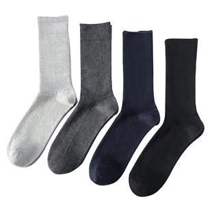 100%纯棉防臭绅士男士长筒高筒袜