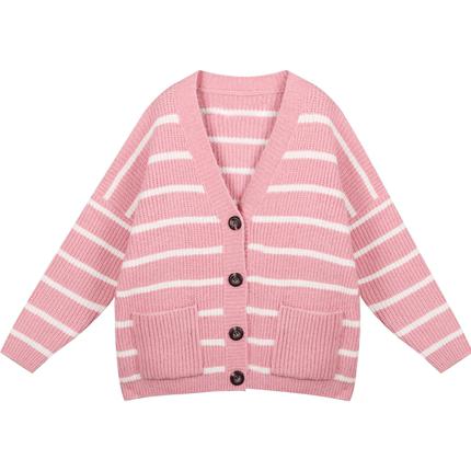 甜美风少女系粉色条纹毛衣外套开衫