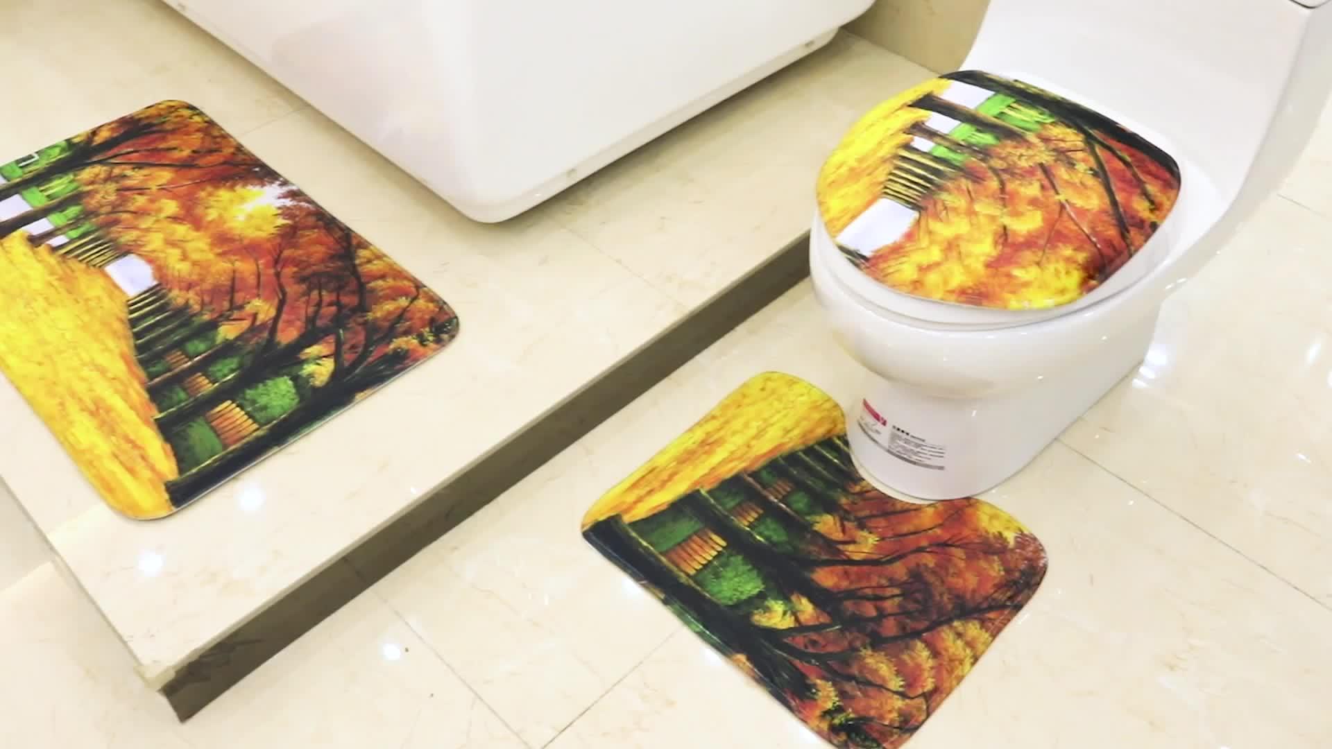 Producto más nuevo diseño magnético absorbente de espuma de memoria de baño WC baño, alfombra y impresión Bath Mat Set