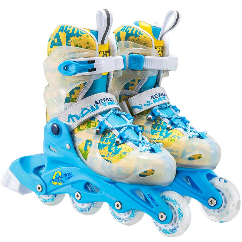 动感溜冰鞋儿童全套装可调全闪光直排轮滑旱冰鞋男女3-5-6-8-10岁