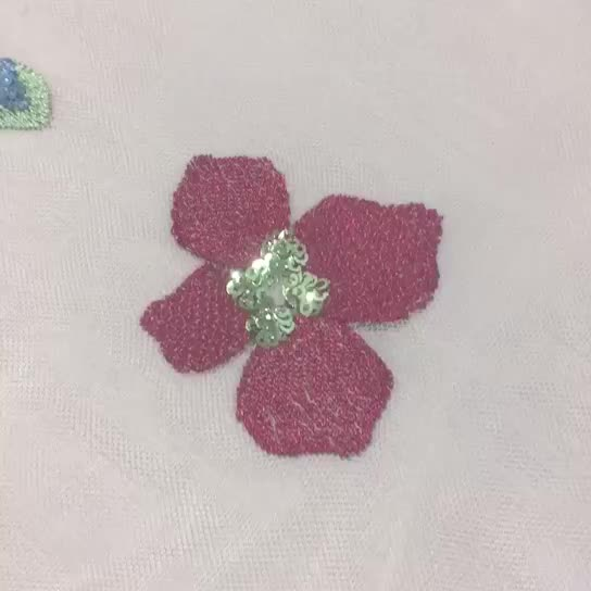 Wholesale flower pattern handmade sequin embroidery fabric for upholstery