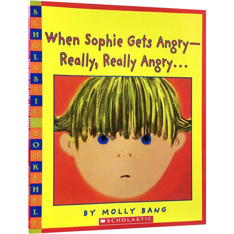凯迪克金奖英文原正版绘本When sophie gets really really angry吴敏兰 张湘君推荐123学乐Scholastic幼儿情绪管理全景全彩图画书