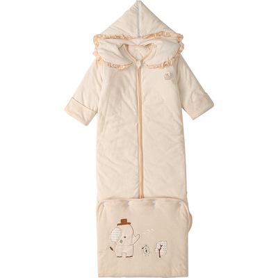 婴儿成长睡袋儿童春秋薄款彩棉四季通用中大童宝宝冬季防踢被神器