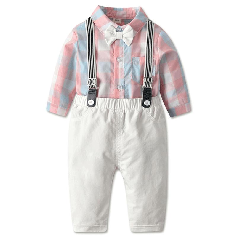 男宝宝长袖背带裤套装春秋婴儿满月服礼服男童周岁服童装花童衣服