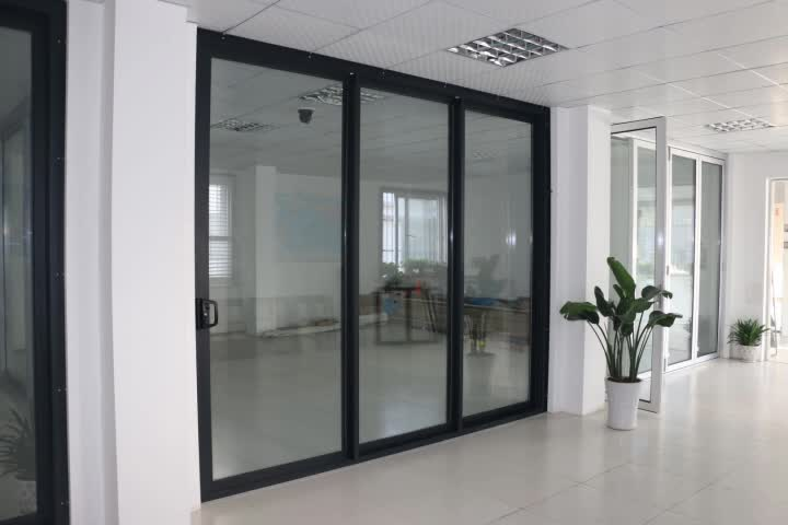 Air tight sliding door 3 panel sliding glass door for Three panel sliding glass door