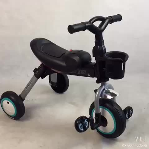 Folding 3 wheel tricycle for baby lighting and music foldable baby tricycle baby trike