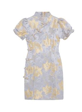 花樽与花  法式改良款旗袍少女小众2021年新年轻温柔风碎花连衣裙