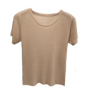 chic薄款冰丝针织t恤新款打底衫