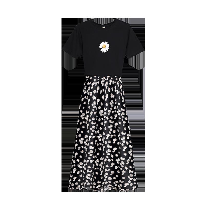 小雏菊碎花半身裙套装裙女夏装两件套洋气t恤小个子显高气质套装