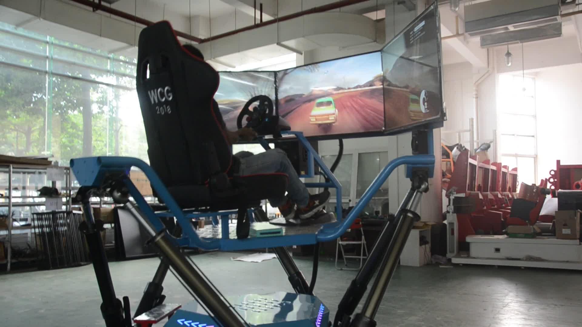 Christmas day promotion amusemen park simulator Six-axis-Dynamic-Car XD VR Racing car game machine driving simulator price