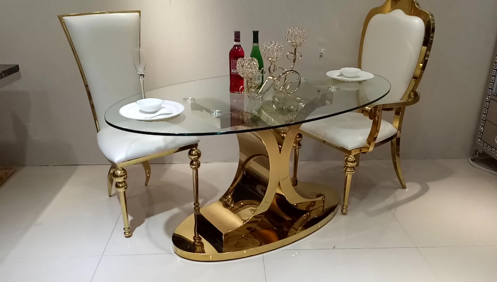 Wholesale modern dining room furniture oval glass top metal one leg dining table