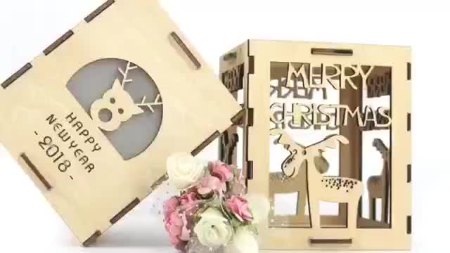 3mm Wooden snowflake shape night lamp candle holder