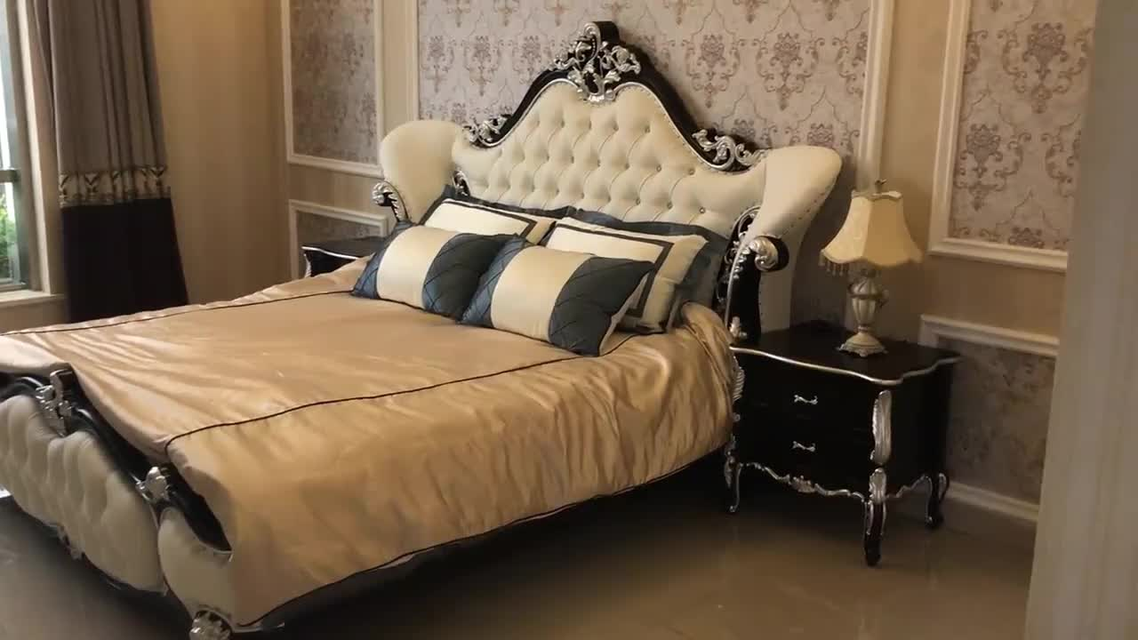 White French Luxury King Bed Leather Headboard - Buy King ...