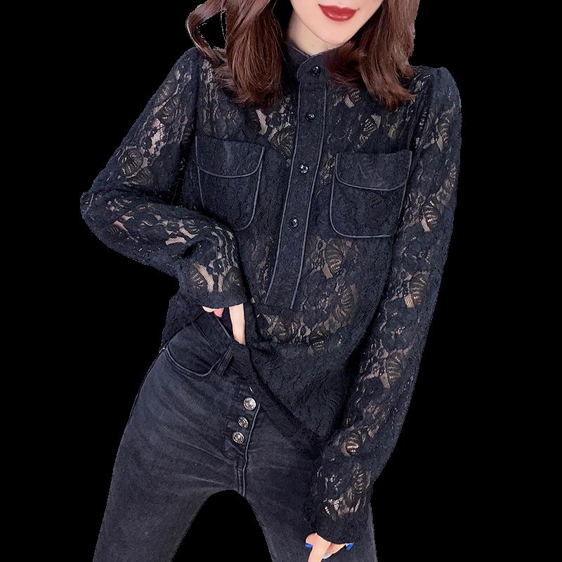 黑色时尚镂空上衣衬衫打底蕾丝衫欧洲站2020春季女新款欧货潮韩版
