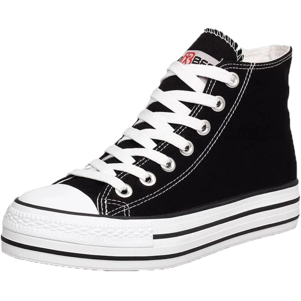 人本增高厚底黑色帆布鞋女松糕鞋子质量好不好