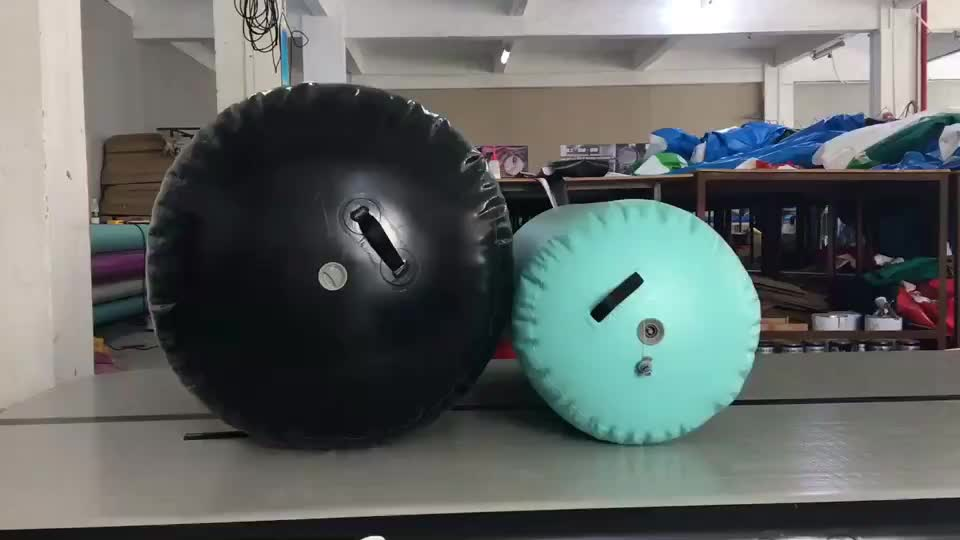 Latge black air roll airtrack type inflatable air barrels for gymnastics
