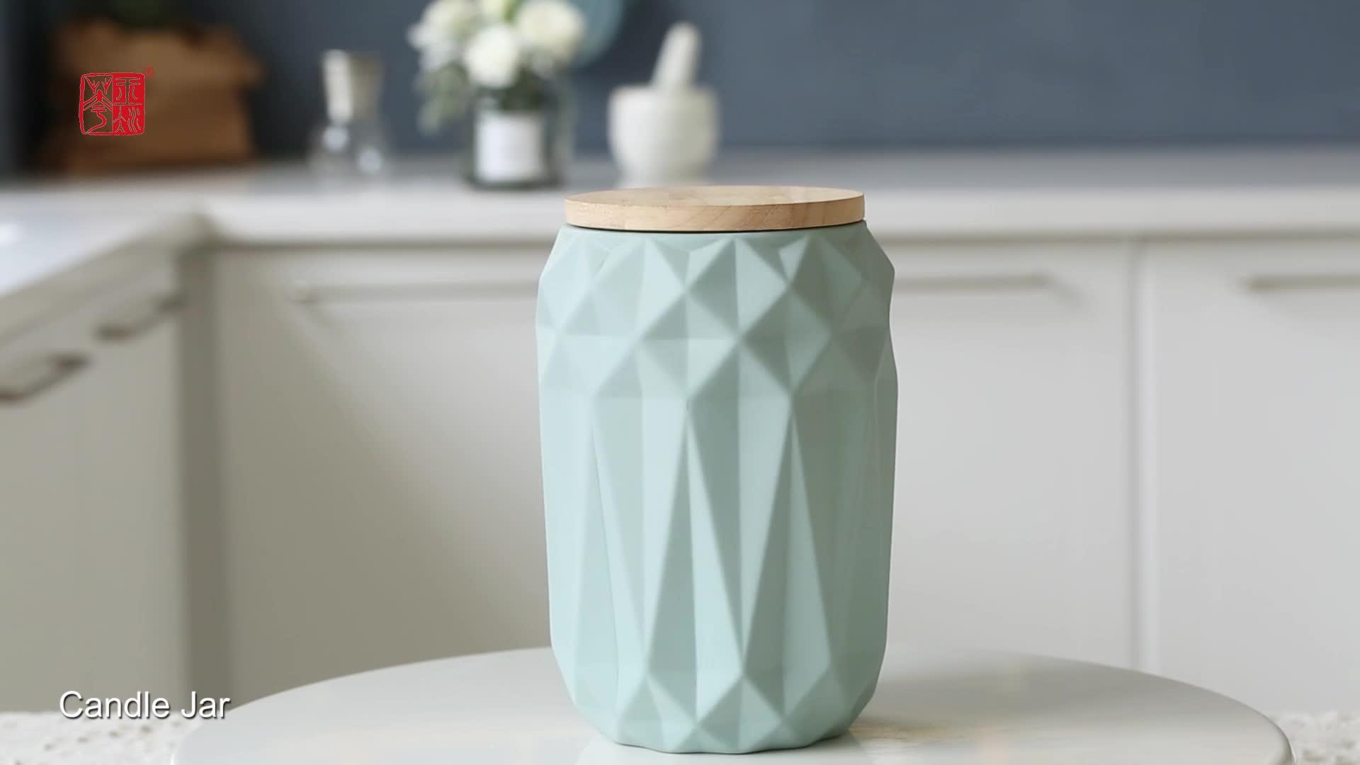 Superficie mate de cerámica de cocina té azúcar café tarro de almacenamiento con la tapa de Bambú