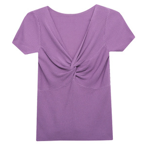2021夏季新款修身锁骨v领针织t恤