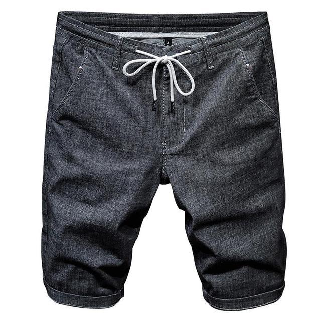 短裤男夏天薄款宽松黑色牛仔中裤灰色潮流5分裤休闲马裤弹力超薄