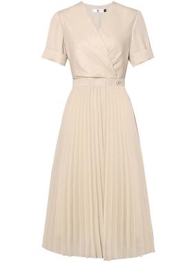 夏季女装2021新款气质性感收腰雪纺长裙短袖显瘦中长款连衣裙